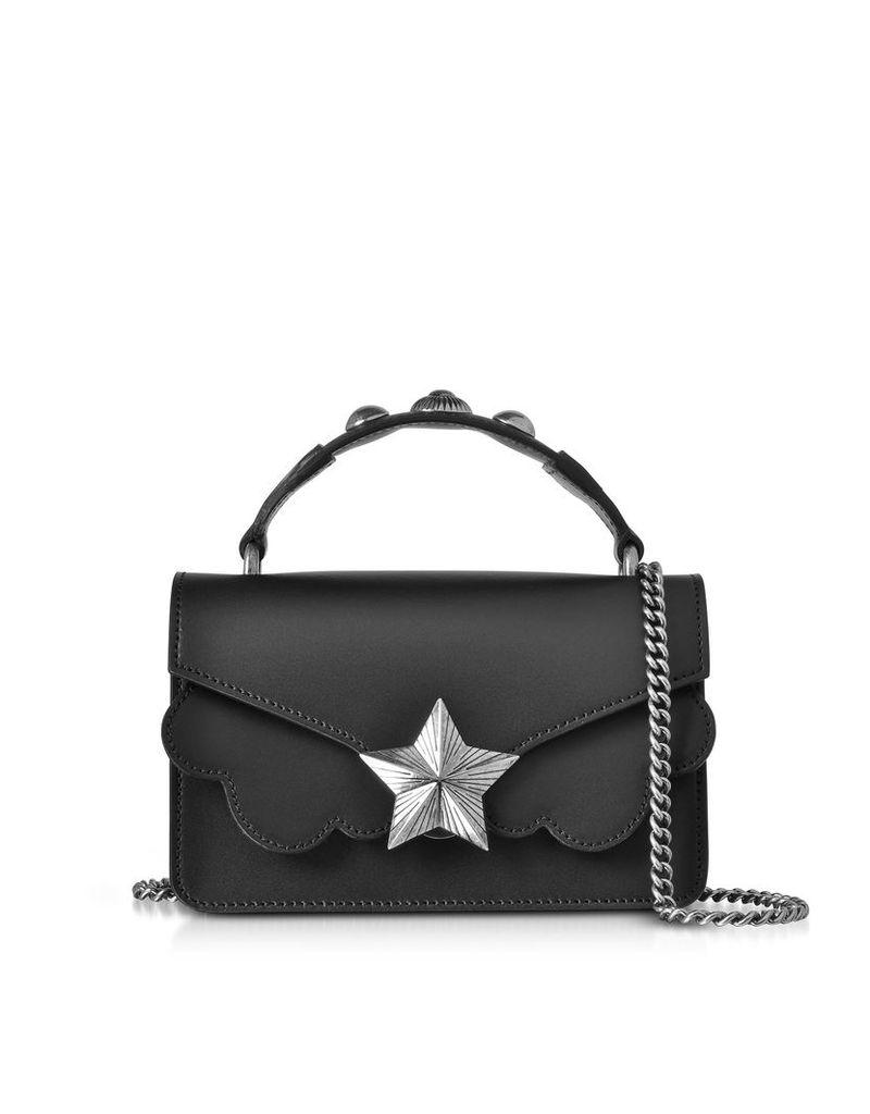 Les Jeunes Etoiles Designer Handbags, Black Leather Vega Mini Shoulder Bag