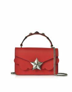 Les Jeunes Etoiles Designer Handbags, Red Leather Vega Mini Shoulder Bag