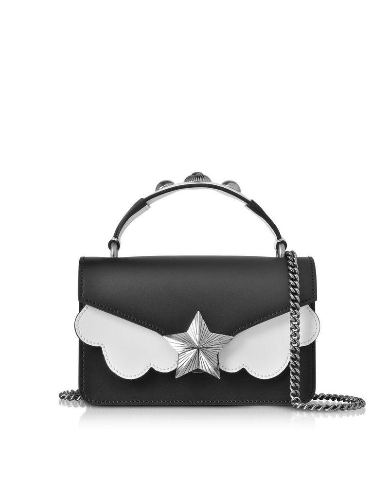 Les Jeunes Etoiles Designer Handbags, Black & White Leather Vega Mini Shoulder Bag
