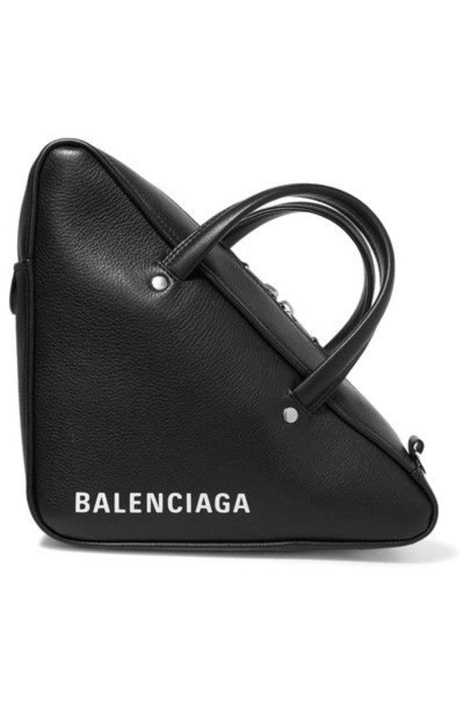 Balenciaga - Triangle Duffle Printed Textured-leather Tote - Black