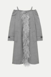 Prada - Cold-shoulder Feather-trimmed Wool-blend Coat - Gray
