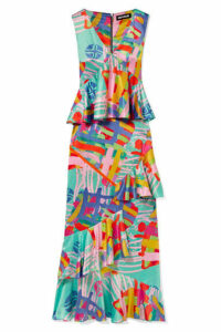 House of Holland - Nova Ruffled Printed Satin Maxi Dress - Mint