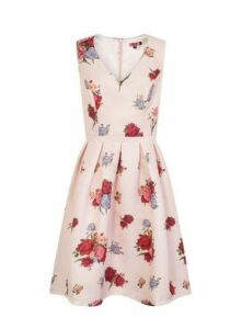 **Chi Chi London Nude Floral Print Skater Dress, Nude
