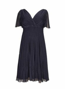 **Scarlett & Jo Navy Spot Float Sleeve Midi Dress, Royal Blue