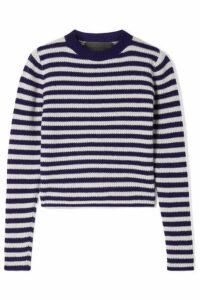 The Elder Statesman - Striped Ribbed Cashmere Sweater - Dark purple