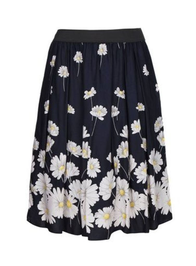 **Scarlett & Jo Navy Blue Daisy Print Full Skirt, Dark Multi