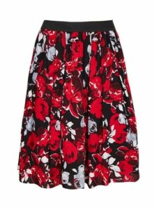 **Scarlett & Jo Red Rose Print Skirt, Red