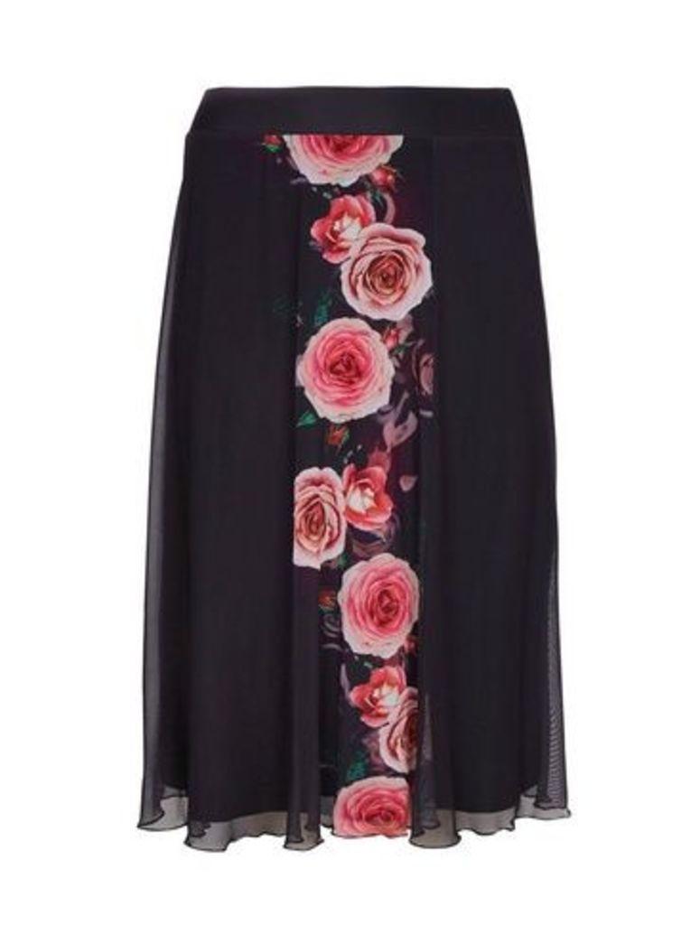**Scarlett & Jo Black Rose Print A-Line Skirt, Black