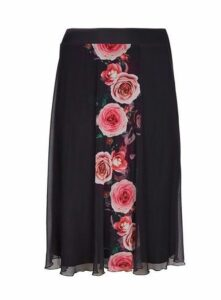 **Scarlett & Jo Black Rose Print A-Line Skirt, Black