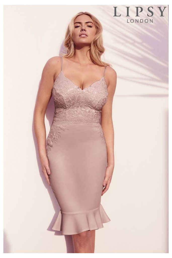 d641486b6e1b Womens Lipsy Loves Kate Sequin Cami Flute Hem Bodycon Dress - Nude ...