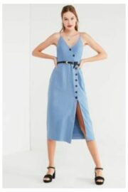 01dd0e7502 Shop Similar Styles UO Amber Blue Linen Button-Through Midi Dress, blue by  Urban Outfitters