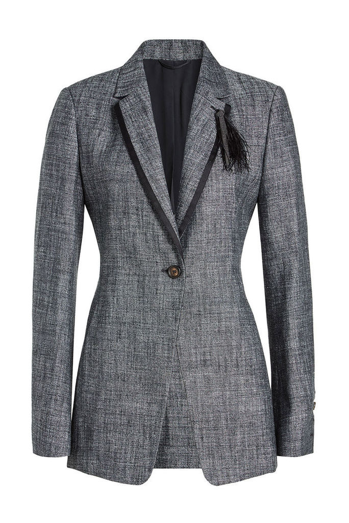 Brunello Cucinelli Tweed Blazer with Silk, Linen and Feathers