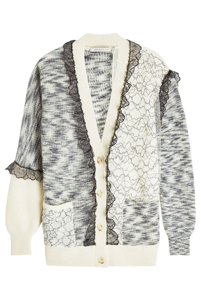 Christopher Kane Patchwork Cardigan with Mohair, Wool and Lace