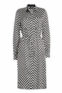 Amiri Checkerboard Printed Silk Shirt Dress