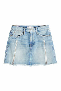 Frame Denim Denim Mini Skirt with Zippers