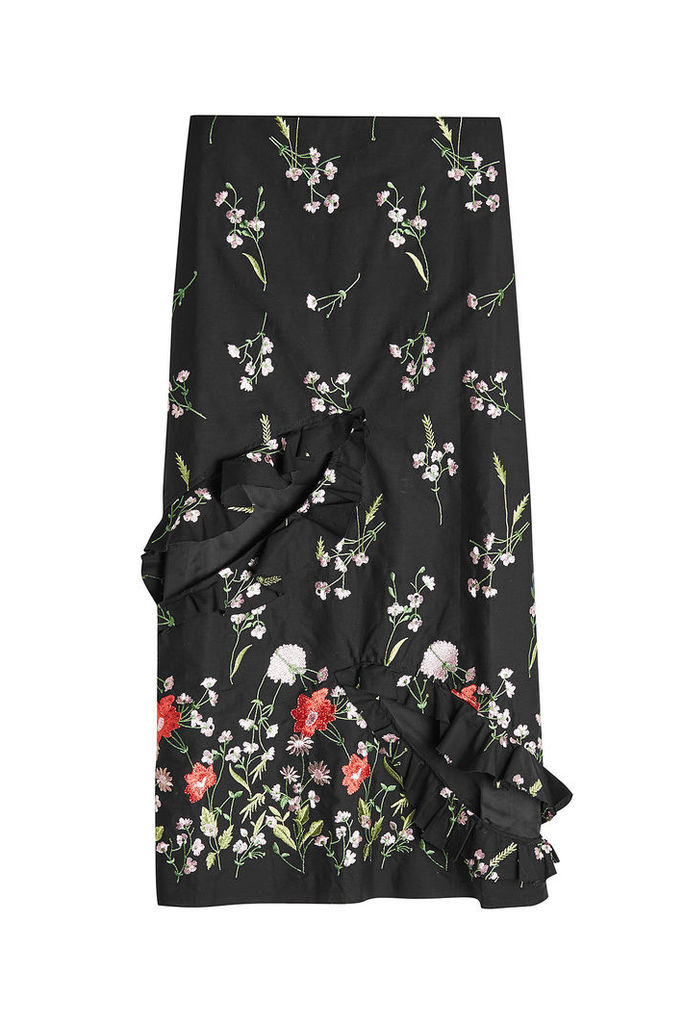 Marques' Almeida Embroidered Slip Skirt with Cut-Out Front