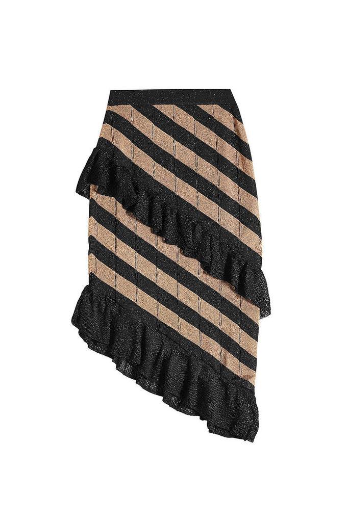 Marco de Vincenzo Asymmetric Skirt with Metallic Thread