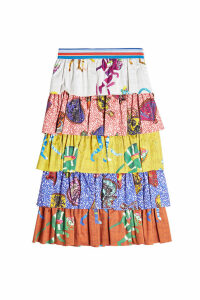 Stella Jean Tiered Cotton Print Skirt
