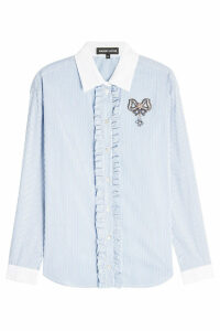 Markus Lupfer Pinstriped Shirt with Ruffles and Embellishment