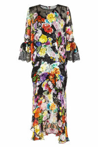 Preen by Thornton Bregazzi Madeleine Printed Dress with Silk and Lace
