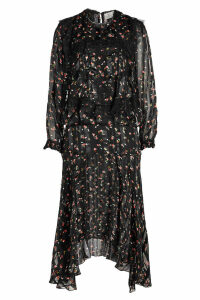 Preen by Thornton Bregazzi Antoinette Printed Silk Dress with Lace