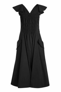 Carven Ruched Front Cotton Dress