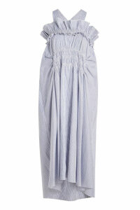 Carven Striped Cotton Ruched Dress