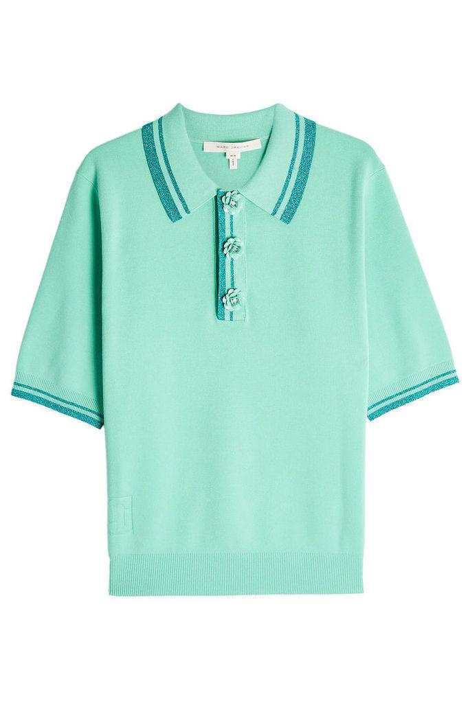 Marc Jacobs Knit Polo Shirt with Metallic Thread