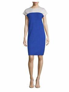 Colorblock Wool-Blend Sheath Dress