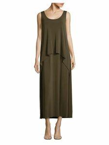 Madina Layered Crepe Maxi Dress