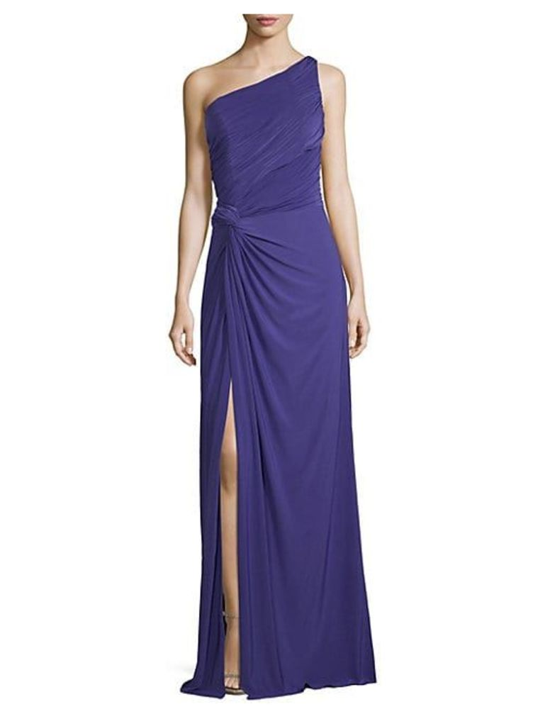 One-Shoulder Jersey Draped Gown