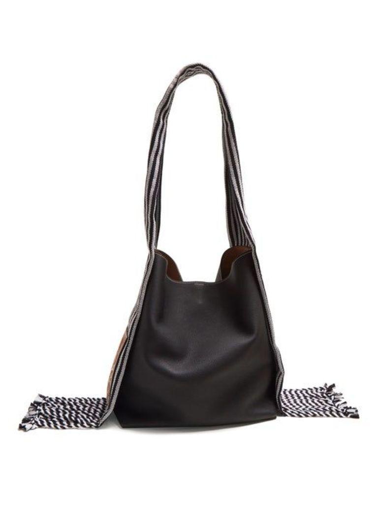 Loewe - Scarf Bucket Leather Tote - Womens - Black