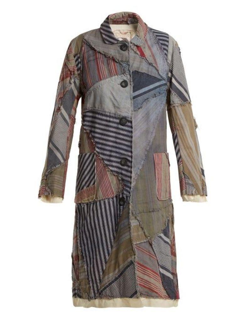 By Walid - Lori 19th Century Print Linen Coat - Womens - Blue Multi