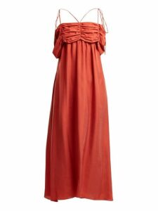 Isa Arfen - Ruched Detail Square Neck Silk Dress - Womens - Red