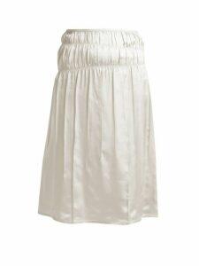 Helmut Lang - Mid Rise Satin Slip Skirt - Womens - White