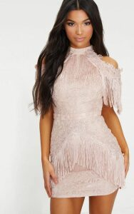 Dusty Pink Cold Shoulder Lace Tassel Trim Bodycon Dress, Dusty Pink