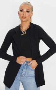 Black Longline Blazer, Black
