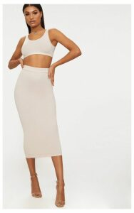 Cream Second Skin Bodycon Midaxi Skirt, White