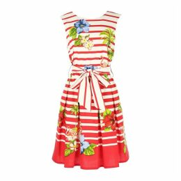 Striped Floral Print Skater Dress with Tie Waist