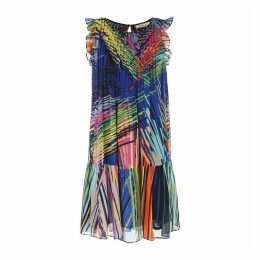Graphic Print Pleated Dress