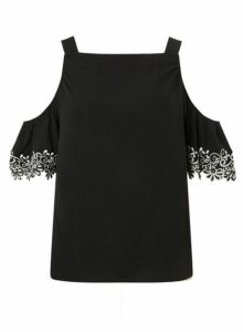 Womens Black Lace Cold Shoulder Top- Black, Black