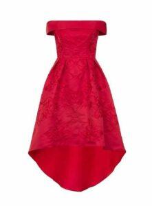 **Chi Chi London Bardot Midi Skater Dress, Red