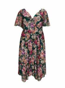 **Scarlett & Jo Multi Coloured Floral Hanky Hem Dress, Pastel Multi