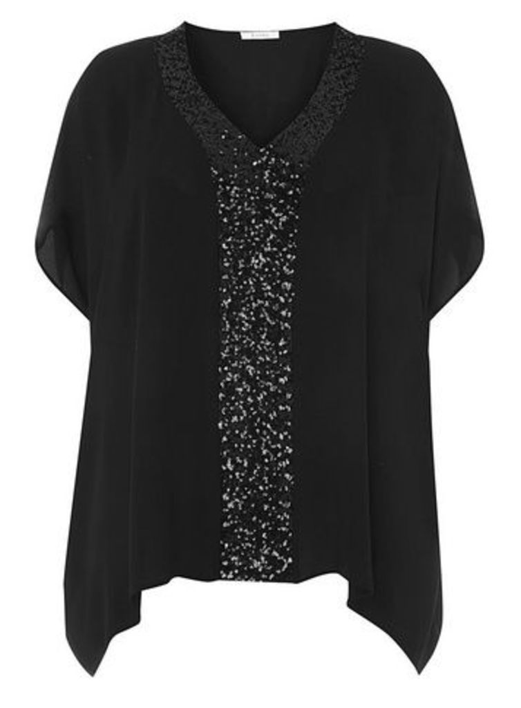 Black Sequin Kaftan Top, Black