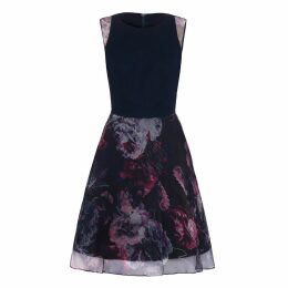 Abigail London - Cotton & Floral Print Silk Organza Harriet Skater Dress