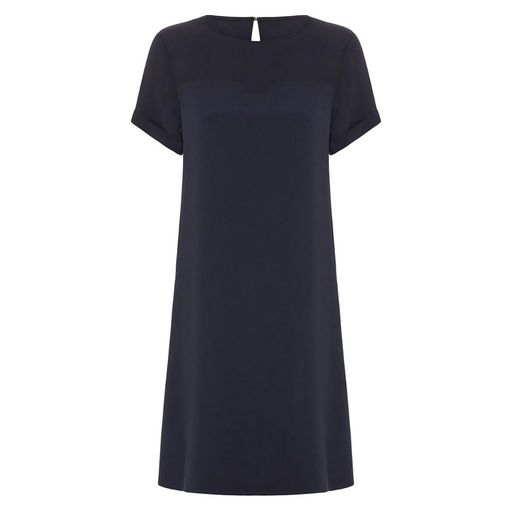 Abigail London - Silk Navy Heather Shift Dress With Optional Waist Tie