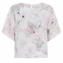 Abigail London - Silk Floral Print Anna Top With Kimono Sleeve Pink Cream