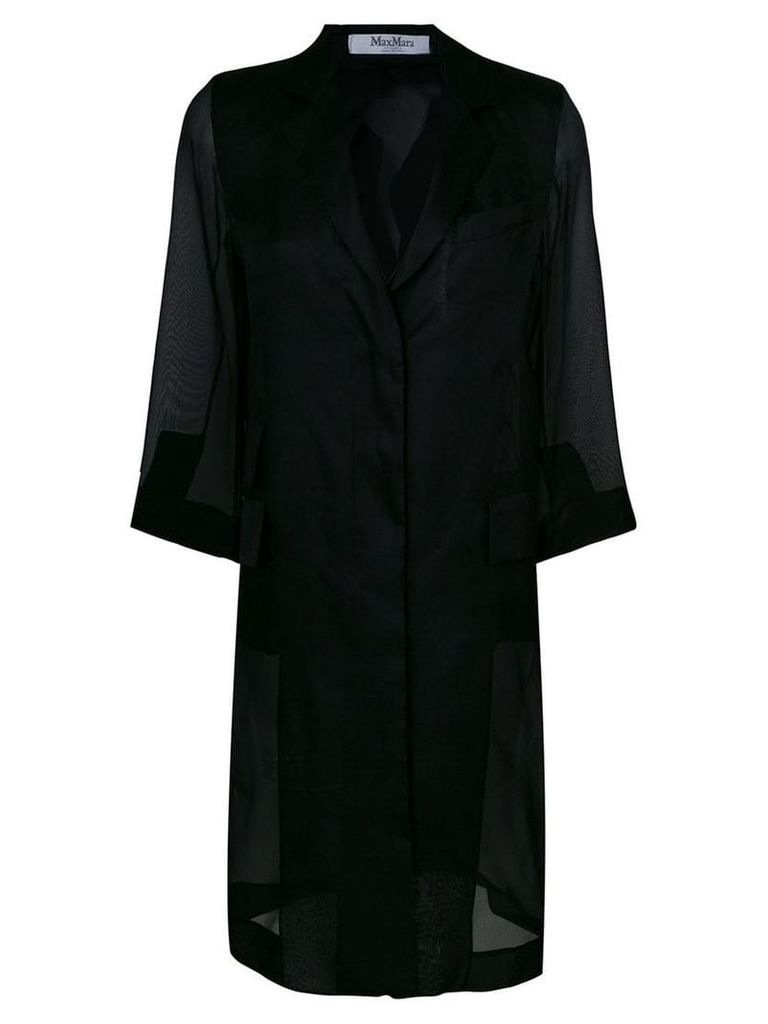 Max Mara single breasted sheer coat - Black