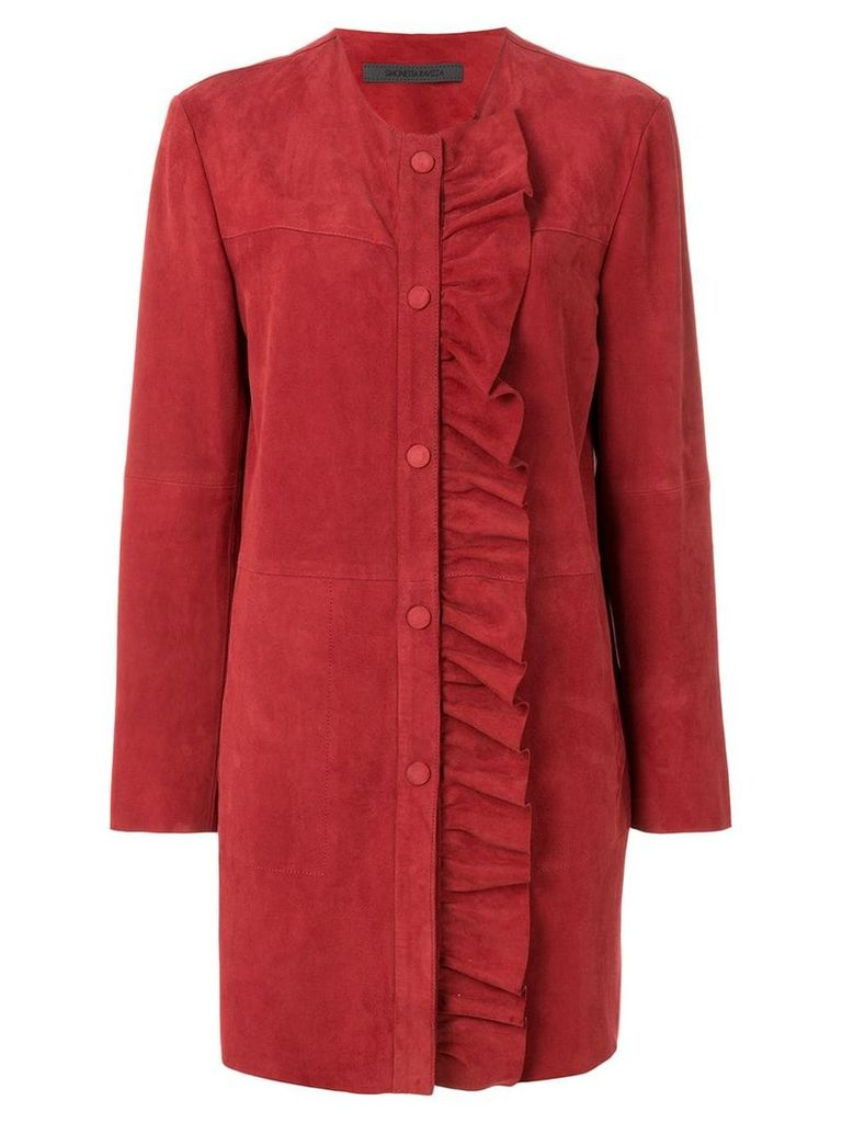 Simonetta Ravizza ruffle detail coat - Red