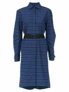 Tufi Duek striped belted coat - Blue
